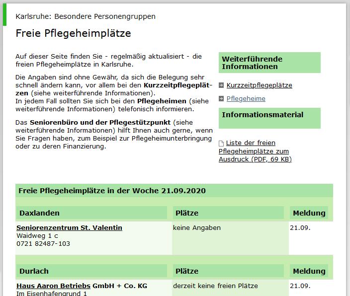 Freie Pflegeheimplätze - Screenshot der Webseite der Stadt Karlsruhe