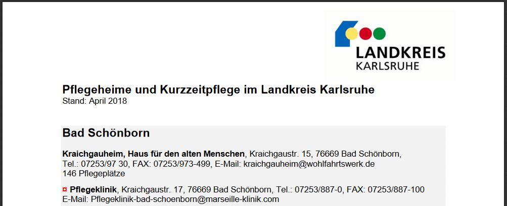 Pflegeheime im Landkreis Karlsruhe - Screenshot des PDFs des Landratsamts Karlsruhe